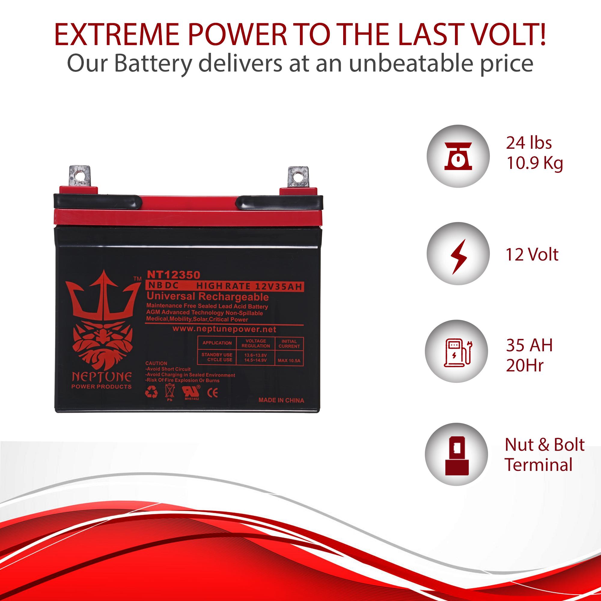 Charity Battery 12V 35AH U1 Deep Cycle AGM Solar Battery Replaces 33Ah 34Ah 36Ah