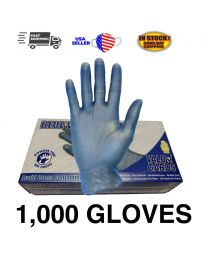 1000 PCS Blue Vinyl Gloves Powder Free NON Latex Examination Gloves