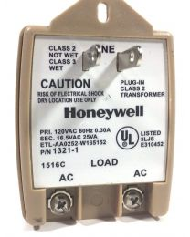 Honeywell 1321 16.5VAC 25VA AC Plug-In Transformer