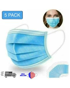 5 Disposible Surgical Masks 3-Ply Earloop Mouth and Nose Cover